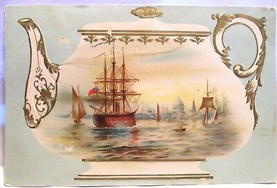 1905 Victoria Advertising Trade Card Oriental Tea Co, Teapot With Sailing Ships