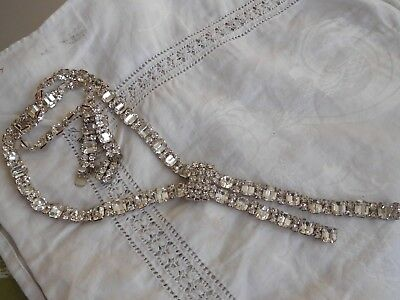 Dazzling Long Vintage 1950s Crystal Necklace with fabulous clasp