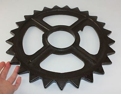 "Antique 15"" Cast Iron Industrial Machine Age Steampunk Art Gear Wheel Primitive"