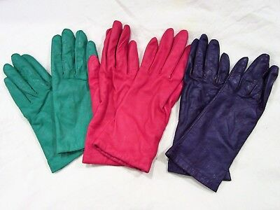 Lot of 3 pair vintage ladies Leather Gloves - Red, Purple and Green size Large