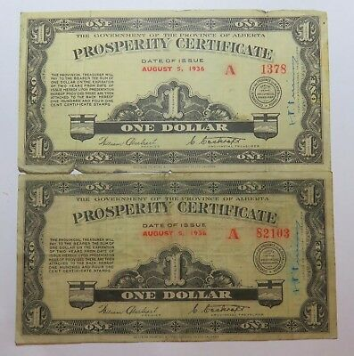 2 1936 One Dollar Prosperity Certificate Gov Of The Province Of Alberta