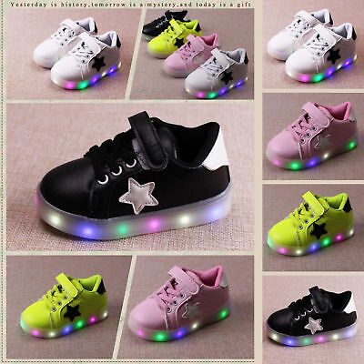 LED RGB Light Up Boys Girls Luminous Sneakers Kids Children Casual Shoes Cute