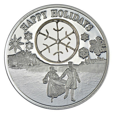 2017 Niue Happy Holidays - Ice Skaters 1 oz Silver Proof $2 Coin in OGP SKU51896