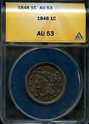 Amazing 1848 ANACS AU 53 Braided Hair Liberty Head Large Cent BF 294