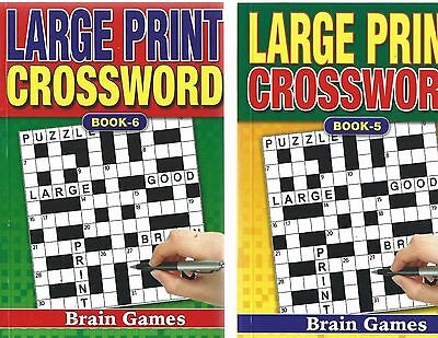 2 Large Print Crossword Books 75 Puzzles In Each A5 Size A Real Bargain-Free P/p