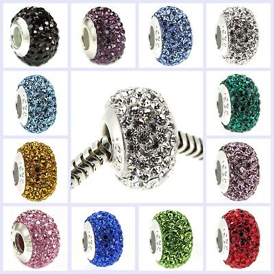 .925 Sterling Silver BIRTHSTONE ROUND Bling Bead for European Charm Bracelet