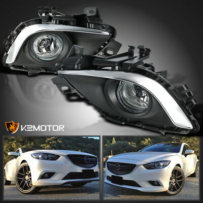 2014-2016 Mazda 6 Sport Sedan 4-Door Clear Bumper Driving Fog Lights+Switch