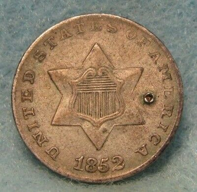 1852 Three Cent Silver Choice XF Tiny Hole * Circulated US Coin  #1565