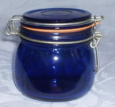 VINTAGE COBALT BLUE GLASS WIRE BAIL APOTHECARY JAR CANISTER Red Rubber Ring Seal