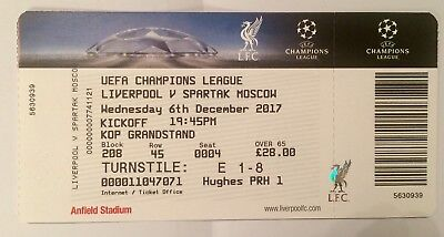 LIVERPOOL v SPARTAK MOSCOW 2017/8 Ticket in Perfect Condition UEFA Champions Lea