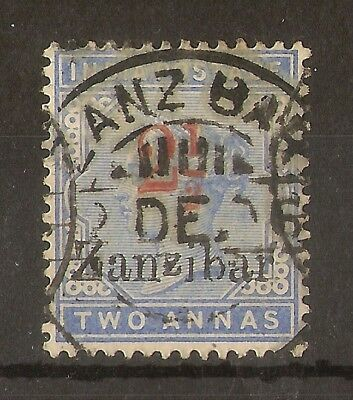 Zanzibar 1895 2.5a on 2a Red Opt (type 8?) Fine Used