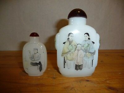 """Vintage - Hand Painted - Snuff Bottles - 4"""" + 3"""" - Chinese"""