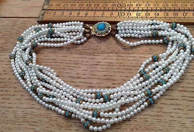 Gorgeous Vintage Pearly Glass Bead Necklace With Glass Turquoise Stones