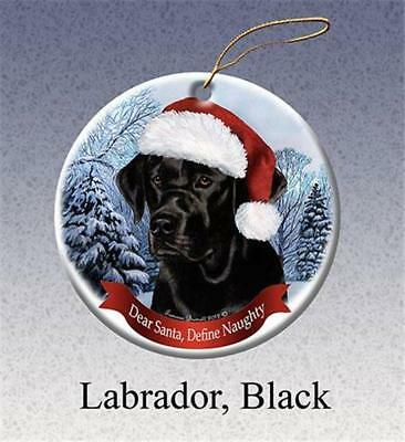 Black Labrador Lab Santa Hat Porcelain Christmas Ornament Gift