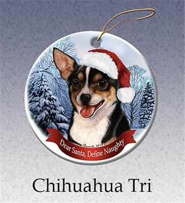 Tricolor Chihuahua Dog Santa Hat Porcelain Christmas Ornament Gift