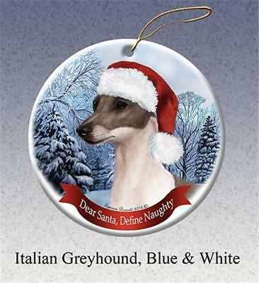 Blue and White Italian Greyhound Dog Santa Hat Porcelain Christmas Ornament Gift