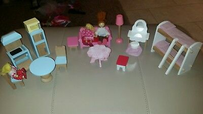 Solid wooden dolls house furniture and dolls