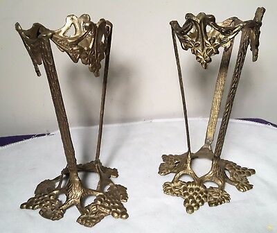 Vtg  Lot of 2 Solid Brass Grapes Design Glass Orb Ball Sphere Vase Holder Stands