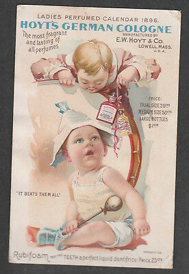 Victorian Trade Card Hoyt's German Cologne Lowell Mass Drum Baby