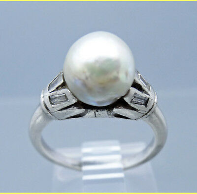Vintage Antique Art Deco Pearl Diamond Ring Silver c1920s GIA certificate(#5735)