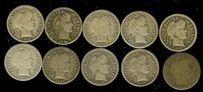 1893-1916 Barber Silver Dimes Nice 10 Coin Collection  Some Better Date!