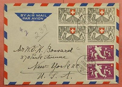1951 Switzerland Zug Cancel #b204 Pair On Airmail Cover To Usa