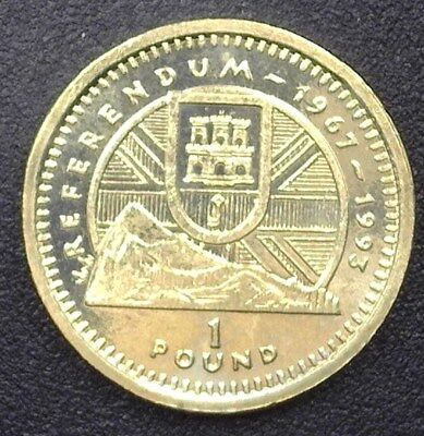 Gibraltar 1993-Aa Pound -Referendum Of 1967- Gem+ Uncirculated Km#191