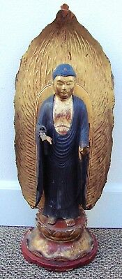 """Antique Hard to Find Japanese Tall Wood Buddha Sculpture - 24"""" Tall NR"""