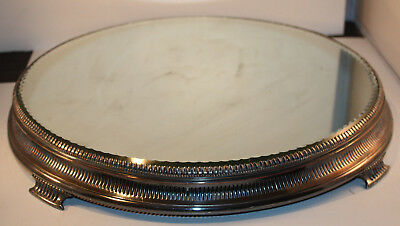 Antique Large American Aesthetic Silverplate Plateau Mirror Sitting on Four Feet