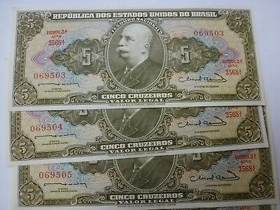 Brazil 5 Cruzeiros -- 10 Consecutive Uncirculated Notes #1
