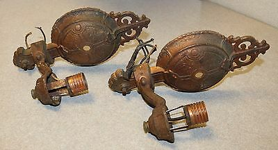 Antique Pair of Arts & Crafts Period Cast Iron Wall Sconces