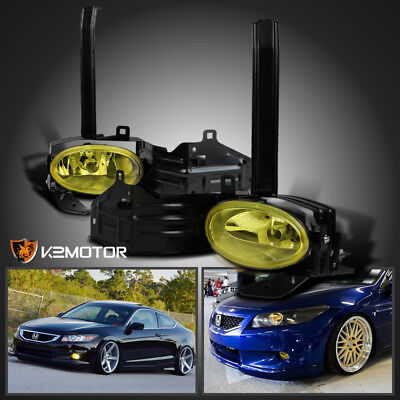 For 08-10 Honda Accord 2Dr Coupe Yellow Bumper Fog Lights Driving Lamps+Switch