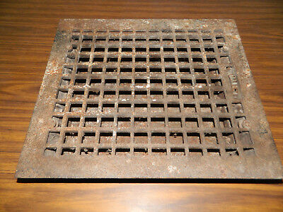 """Vtg Large Cast Iron Gothic Victorian Louvered Heat Grate Floor Register 14x16"""""""