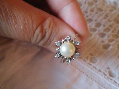 Gorgeous Vintage 1950s Sterling Silver Pearl Paste Dress RING    size P or Q