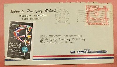 1955 Dominican Rep Fair Label On Airmail Cover To Usa