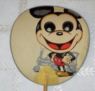 Vintage Disney Mickey Mouse-Steam Boat Willie Toy Paper Fan-Goggle Eyes-Japan