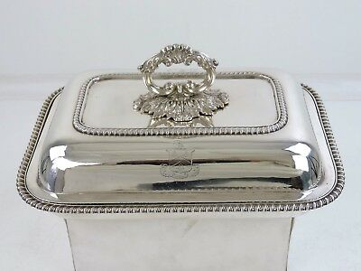 GEORGIAN SILVER ENTREE DISH, London 1827 OXFORD CITY coat of arms & crest 1550g