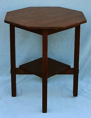 Antique Arts & Crafts Stickley Brothers Side Table w/ Special Order Octagon Top