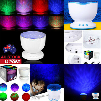 AU Plug Ocean Waves LED Night Light Projector Music Relaxing Speaker Lamps Gift