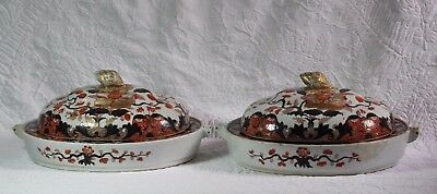 Pair (2) Antique 18thC Chinese Export Imari Covered Warming Platters