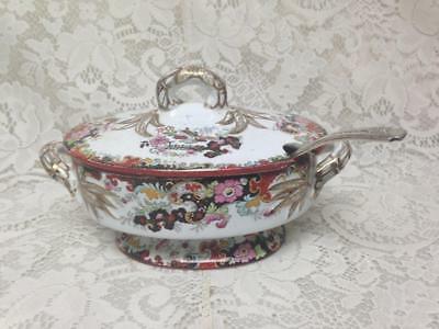 Antique, Ridgway, Gaudy Blue Willow, 9in x 5in x 5.5in Small Soup-Gravy Tureen