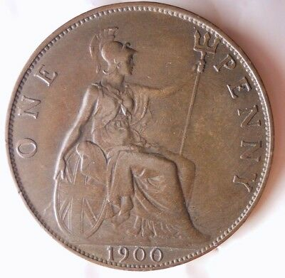 1900 GREAT BRITAIN PENNY - AU - HIGH Quality Hard to Find Coin - Lot #D7