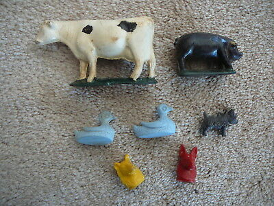 LOT of 7 VINTAGE HARD RUBBER PLASTIC METAL TOY ANIMALS - DOGS SWANS COW PIG