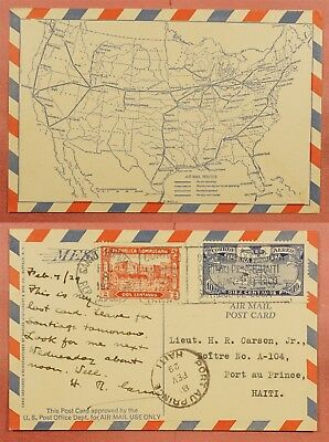 1929 Dominican Rep Air Mail Special Card To Haiti