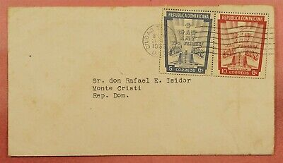 1955 DOMINICAN REPUBLIC IMPERFS FROM AIRMAIL S/S #C86a ON COVER TO MONTE CRISTI