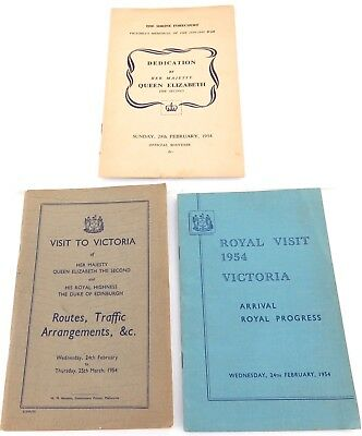 1954 Royal Visit Queen Elizabeth To Australia. 3 State Of Victoria Booklets.