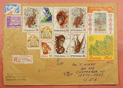 1989 Indonesia Flora S/s #1378 + Orangutans On Large Registered Cover To Usa