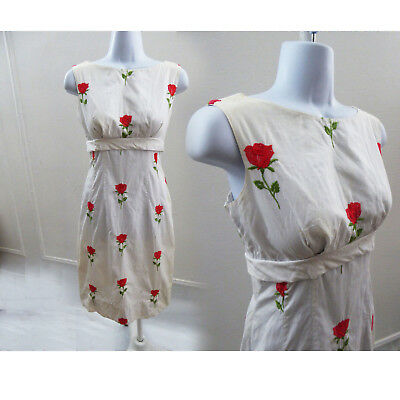 Vintage 50s Dress Size S White Red Rose Embroidered Cotton Rockabilly Day Wiggle