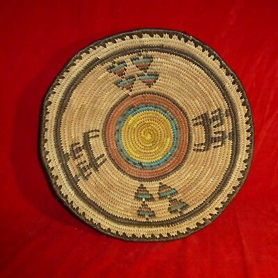 """Rare Antique Ca 1930 South West Native American Indian 12"""" Decorated Basket Exc"""
