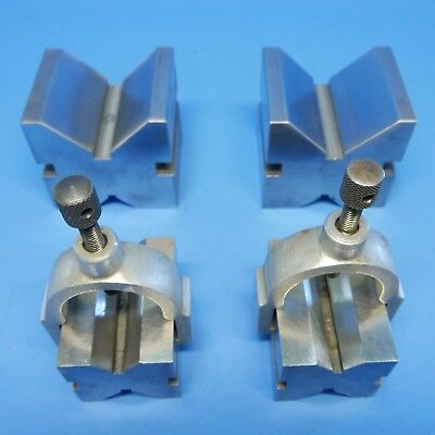 2 BROWN & SHARPE V-BLOCKS with CLAMPS & 2 generic v-blocks machinist tools